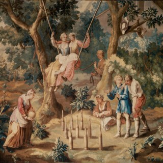 'The Swing' - English 18th Century Pastoral Tapestry
