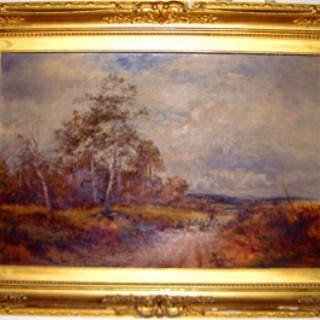 Oil Painting 'On the hill at Crookham, Surrey' signed by P. Ambrose Dated 1922