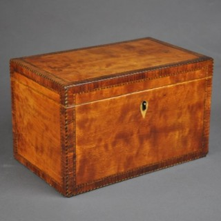 Satinwood rectangular Tea Caddy
