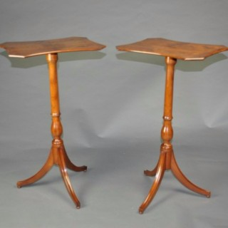 Rare pair of Yew wood tripod end tables