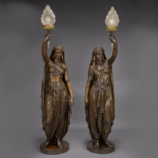 Pair of Large Patinated Bronze Figural Torchères