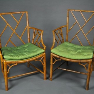 Fine and Rare Pair 'Brighton Pavillion' faux bamboo Armchairs