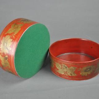 Pair of red lacquer papier mâché coasters
