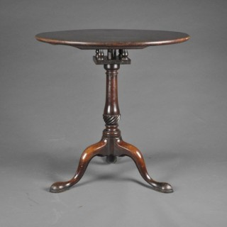 Good mid 18th century mahogany tripod table with 'bird cage'