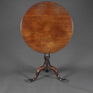 Good mid 18th century mahogany tripod table with 'bird cage'