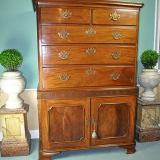 Chippendale period Inverted Linen Press