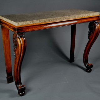 Irish Oak Pier Table with marble top