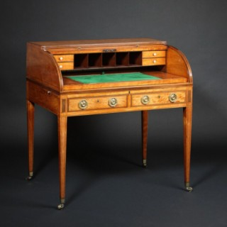 Fine Satinwood Cylinder Desk