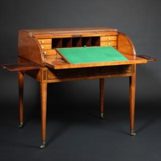 Fine Satinwood Cylinder Desk