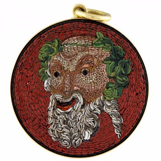Antique Micromosaic of Bacchus God of Wine Fertility and the Theatrical Arts
