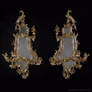 Pair of George III Style Mirrors  In The Rococo Manner of Thomas Chippendale