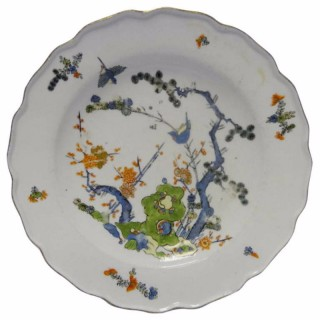 Meissen Porcelain Dinner Shallow Bowl in Three Friends Pattern