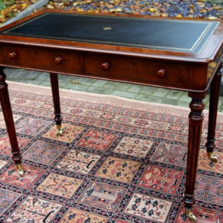 Antique Figured and Burr Walnut Writing Table or Small Desk