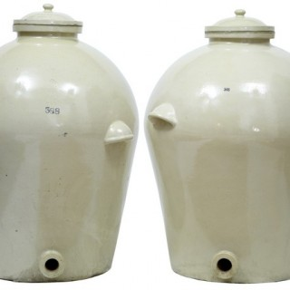 PAIR OF MASSIVE DOULTON OF LONDON RMS SHIPPING STONEWARE ALCOHOL JARS VATS