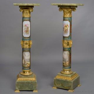 Pair of Napoleonic Style Vienna Ground Porcelain Pedestals
