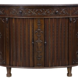 MAHOGANY ADAMS INSPIRED DEMI LUNE COMMODE SIDEBOARD