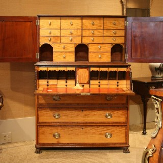 George III period satinwood secretaire cabinet, attributable to Gillows