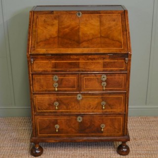 Fine Queen Anne Figured Walnut & Feather Banded Bureau of Superb Small Proportions