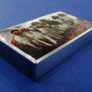 Victorian Silver & Enamel 'Hounds' Vesta Case/Match Safe