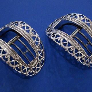 Pair of Georgian Silver & Steel Shoe Buckles