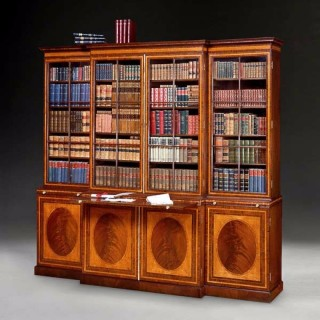 George III Satinwood and Mahogany Breakfront Bookcase