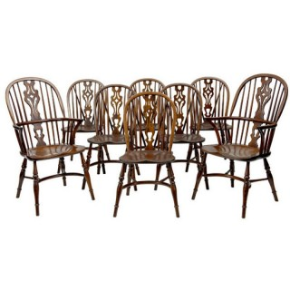 Set Of 8 Ash And Elm Windsor Dining Chairs