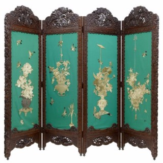 EARLY 20TH CENTURY CARVED HARDWOOD CHINESE 4 PANEL SCREEN