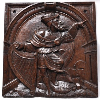 16th-century French carved oak panel of King David