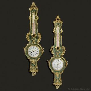 Louis XV Style Horn Clock & Barometer Set