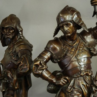 Large pair of French bronzed warrior figures of superb quality