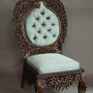 Superb quality Anglo Indian rosewood upholstered side chair