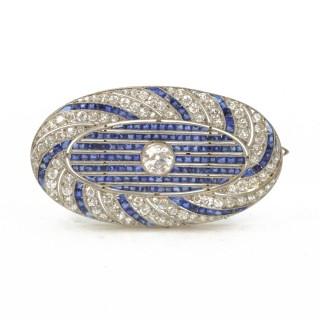 Sapphire & Diamond Oval Brooch