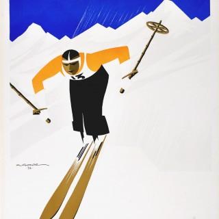 Original Winter Sport Ski Poster: Sport d'Hiver Pyrenees & Auvergne