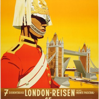 Rare Original Travel Advertising Poster Featuring Tower Bridge London