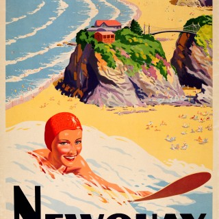 Original British Railways Poster For Cornwall Featuring A Surfer: Newquay On The Cornish Coast