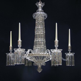 French cut glass 'Sunburst' Chandelier probably by Baccarat