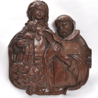 17th-century Flemish carved oak panel of the Virgin & Child with St Thomas