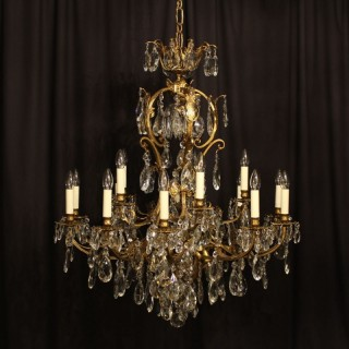 A French Gilded 21 Light Antique Chandelier