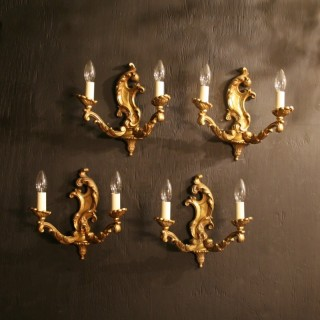A French Set Of 4 Bronze Antique Wall Lights