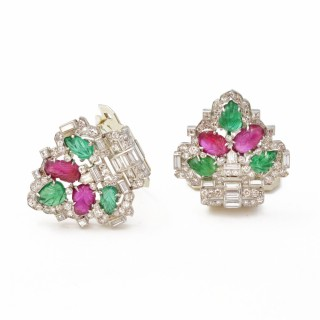 Art Deco Mauboussin Carved Emerald & Ruby Double Clips