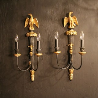 An Italian Pair Of Eagle Antique Wall Lights