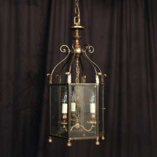 An English Bronze Triple Light Antique Lantern