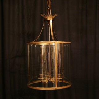 A Large French Gilded Antique Hall Lantern