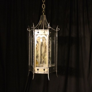 A Large English Triple Light Gothic Hall Lantern