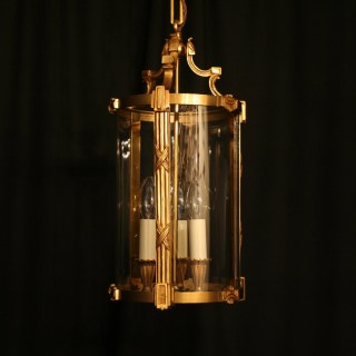 A French Gilded Triple Light Antique Hall Lantern