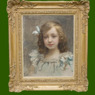 Girl with blue bow