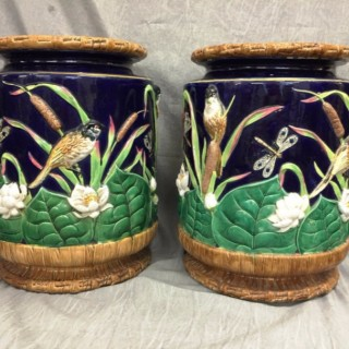 Pair of Minton Majolica Garden Seats by George Jones