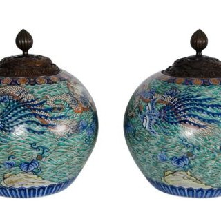 Large pair of 19th Century Imari vases
