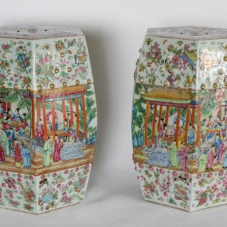 Pair 19th Century Canton Chinese garden seats