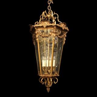 A French Monumental 6 Light Bronze Lantern